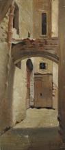 Giuseppe Abbati (attribuito a), Vicolo del Campidoglio, vecchio mercato di Firenze