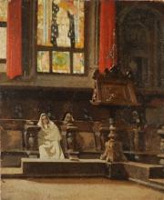 Giuseppe Abbati, Frati nel coro di San Miniato al Monte