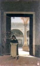 Giuseppe Abbati, Interno di chiostro con monaco