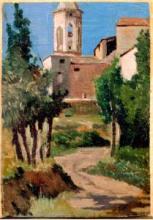 Giuseppe Abbati, Strada che conduce a fabbricati con campanile
