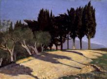 Giuseppe Abbati, Via di campagna con cipressi