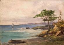 Silvio Allason (attribuito a), Veduta costiera con barche