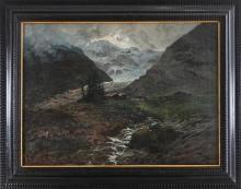 Silvio Allason, Vallata alpina con ghiacciaio sullo sfondo (Valle dell'Orco)