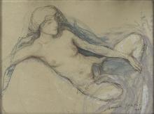 Aman-Jean, Donna nuda sdraiata | Femme nue étendue | Naked woman lying