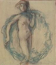 Aman-Jean, Donna nuda, in piedi, di fronte, in una corona di fogliame verde   Femme nue, debout, de face, dans une couronne de feuillage vert   Nude woman, standing, from front, in a green foliage wreath