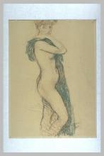 Aman-Jean, Donna nuda, in piedi, di profilo a destra, la testa di fronte   Femme nue, debout, de profil à droite, la tête de face   Nude woman, standing, profile right, head face