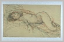 Aman-Jean, Donna nuda, sdraiata su un letto, la testa a sinistra | Femme nue, allongée sur un lit, la tête à gauche |  Naked woman, lying on a bed, her head to the left