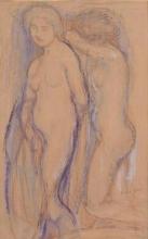 Aman-Jean, Due donne nude, in piedi, girate a sinistra | Deux femmes nues, debout, tournées vers la gauche | Two nude women standing, facing left
