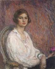 Aman-Jean, Giovane donna con il braccialetto e la violetta   Jeune femme au bracelet et a la violette
