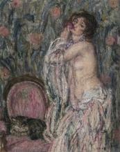 Aman-Jean, Nudo con la rosa e gatto in un interno | Nu à la rose et chat dans un intérieur | Nude with rose and cat in interior