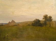 Aman-Jean, Paesaggio con mucchio di fieno | Paysage avec meule de foin | Landschaft mit Heuhaufen | Landscape with haystack