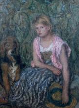 Aman-Jean, Ragazza con il cappello di paglia e il suo cane   Jeune fille au chapeau de paille et son chien   Young girl in straw hat and her dog