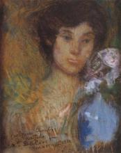 Aman-Jean, Ritratto con vaso azzurro | Portrait au vase bleu | Portrait with blue vase