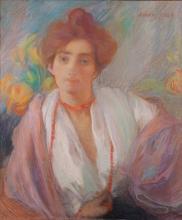 Aman-Jean, Ritratto di donna con la collana di corallo | Portrait de femme au collier de corail | Portrait of a woman with a coral necklace