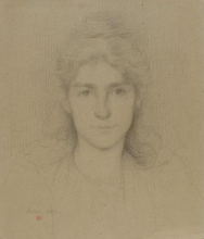 Aman-Jean, Ritratto di donna, a mezzo busto, di fronte, capelli di media lunghezza | Portrait de femme, en buste, de face, cheveux mi-long | Portrait of woman, bust, front, mid-length hair