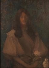 Aman-Jean, Ritratto di una signora con dei fiori |  Portrait d'une dame tenant des fleurs | Portrait of a lady holding flowers