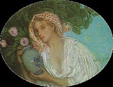 Aman-Jean, Una donna con un vaso di fiori | Jeune femme aux fleurs | A lady with a vase of flowers