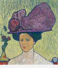 Amiet, Il cappello viola (Ritratto di Gertrud Müller)   Der violette Hut (Bildnis Gertrud Müller)   The violet hat (Portrait of Gertrud Müller)