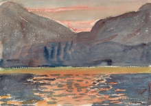 Amiet, Il lago di Sils di fronte alla Val Fedoz | Silsersee gegen Fedoztal