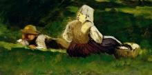 Vittorio Avondo, Donna seduta e ragazzo sdraiato sull'erba, con cesta