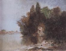 Avondo, Paesaggio lacustre con figure