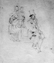 Cristiano Banti, Studio di uomo con cilindro e bastone e di due donne