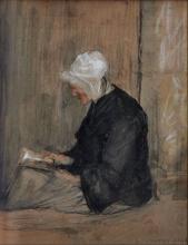 Bastien-Lepage, Donna con la cuffia che legge.png