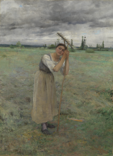 Bastien-Lepage, La contadina che rivolta il fieno si riposa.png