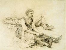 Bastien-Lepage, Ragazza seduta. Studio per La fienagione.jpg