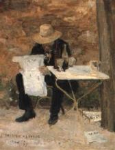 Bastien-Lepage, Uomo che legge nel giardino di un caffe.jpg
