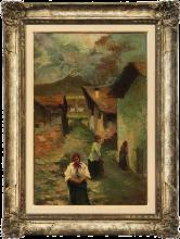 Leonardo Bazzaro (attribuito a), Contadine su una strada di villaggio in montagna
