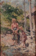Leonardo Bazzaro (attribuito a), Mamma con bambino