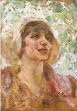 Leonardo Bazzaro, Donna con cappello