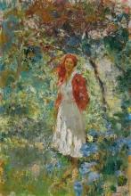 Leonardo Bazzaro, Giovane donna con fazzoletto rosso in testa nel giardino d'estate | Junge Frau mit rotem Kopftuch im Sommergarten