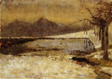 Leonardo Bazzaro, Paesaggio con lago innevato
