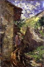 Leonardo Bazzaro, Pastorella con capre presso un rustico