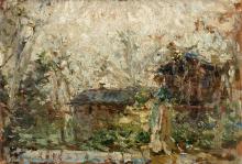 Leonardo Bazzaro, Pastorella con cascina sullo sfondo