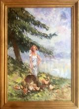 Leonardo Bazzaro, Ritratto di donna al lago