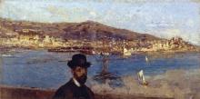Leonardo Bazzaro, Veduta del porto di Genova con ritratto maschile