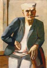 Max Beckmann, Autoritratto con berretto bianco | Selbstbildnis mit weisser mütze | Self portrait with white cap
