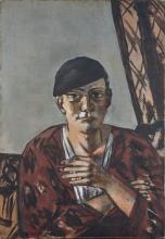 Max Beckmann, Autoritratto con berretto nero | Selbstbildnis mit schwarzer Kappe | Self portrait with black cap