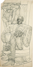 Max Beckmann, Autoritratto con bicchiere di champagne. Le Temps passe | Selbstbildnis mit Champagnerglas. Le Temps passe | Self portrait with champagne glass. Le Temps passe