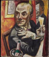 Max Beckmann, Autoritratto con bicchiere di champagne | Selbstbildnis mit Sektglas | Self portrait with champagne glass