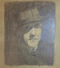 Max Beckmann, Autoritratto con cappello Porkpie e il viso per metà oscurato   Selbstbildnis mit Porkpie-Hut und halb verschattetem Gesicht