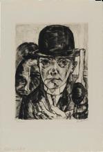 Max Beckmann, Autoritratto con cappello duro | Selbstbildnis mit steifem Hut