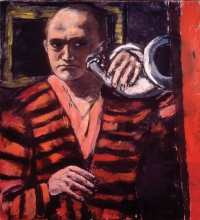 Max Beckmann, Autoritratto con corno | Selbstbildnis mit Horn | Self portrait with horn