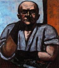 Max Beckmann, Autoritratto con guanti blu scuro | Selbstbildnis mit dunkelblauen Handschuhen | Self portrait with dark blue gloves