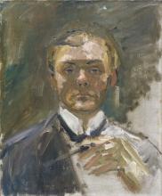 Max Beckmann, Autoritratto con la mano alzata | Selbstbildnis (Unvollendet) | Autorretrato con la mano levantada | Self portrait with raised hand