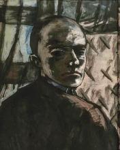 Max Beckmann, Autoritratto con tenda verde | Selbstbildnis mit grünem Vorhang | Self portrait with green curtain