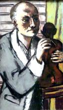 Max Beckmann, Autoritratto con vestaglia grigia | Selbstbildnis mit grauem Schlafrock